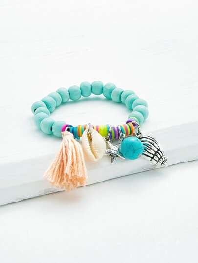 Tassel & Shell Decorated Beaded Bracelet