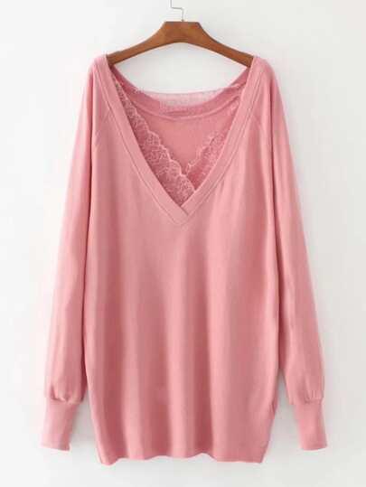 Lace Insert Raglan Sleeve Plunge Sweatshirt
