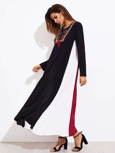Tassel Tie Embroidered Yoke Panel Dress