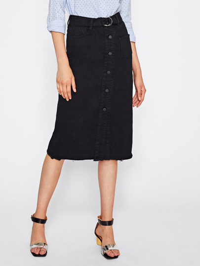 Button Front Frayed Hem Denim Skirt
