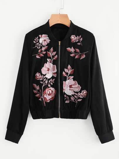 Botanical Embroidered Satin Bomber Jacket