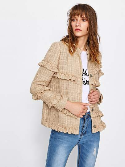 Frill Trim Tweed Blazer