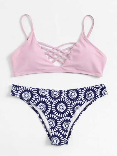 Retro Flower Print Criss Cross Bikini Set