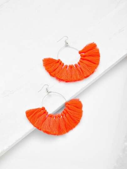 Fringe Tassel Hoop Earrings
