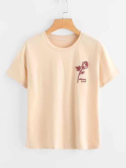 Rose And Letter Embroidered Tee