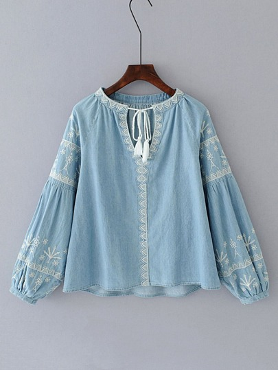 Tassel Tie Neck Lantern Sleeve Denim Blouse