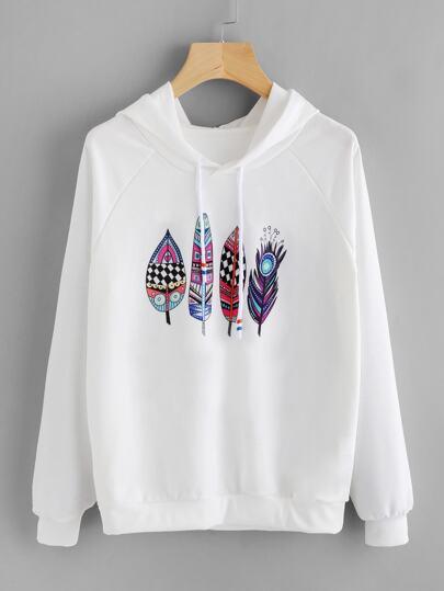 Aztec Feather Print Raglan Sleeve Hoodie
