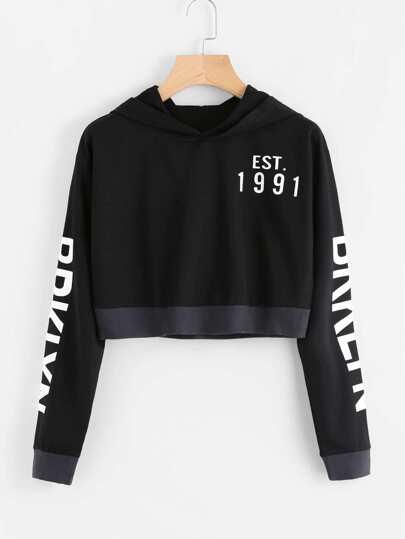 Letter Printed Crop Sweatshirt