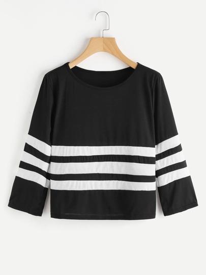 T-shirt con pannello a strisce a contrasto