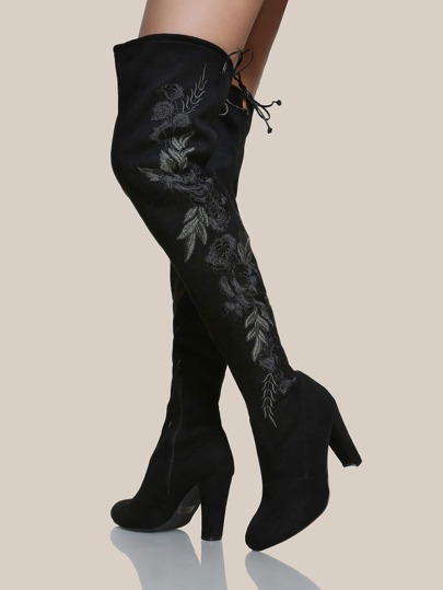 Floral Embroidered Faux Suede Boots BLACK