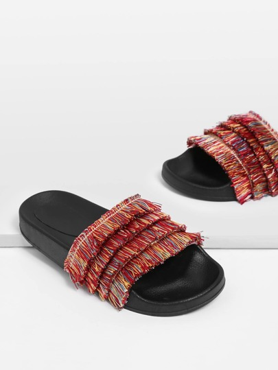 Tiered Fringe Slip On Sandals