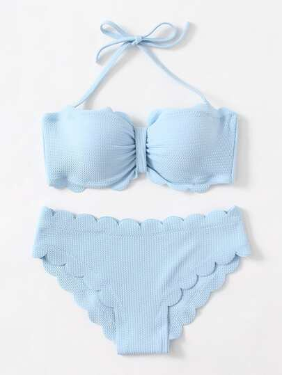 Scalloped Trim Textured Bikini Set