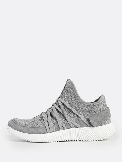 Textured Sole Knit Sneakers BLACK