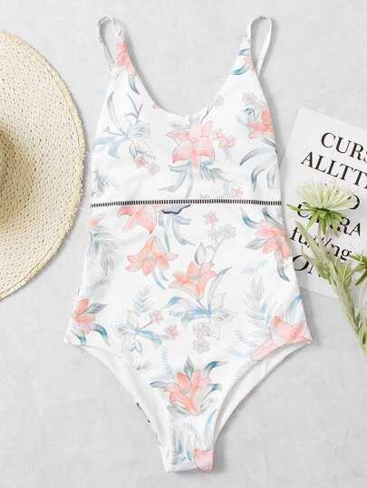 Calico Print Drop Arm Low Back Swimsuit