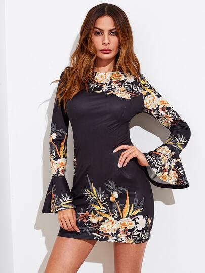Botanical Print Bell Cuff Dress