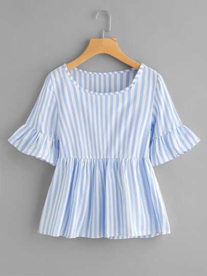 Contrast Striped Frill Cuff Smock Blouse