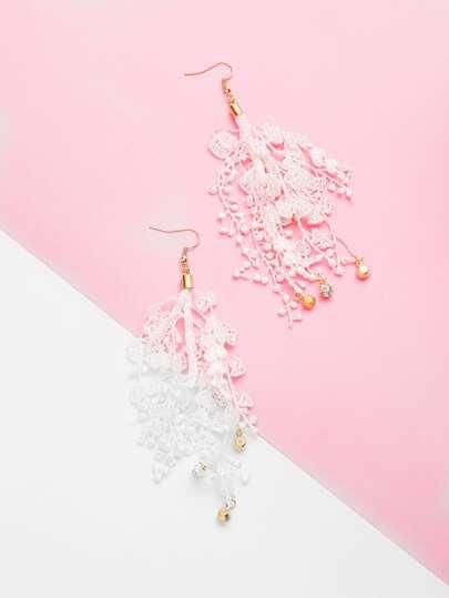 Rhinestone Detail Lace Drop Earrings