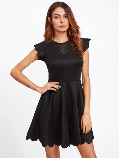 Mesh Insert Scallop Trim Fit & Flare Dress