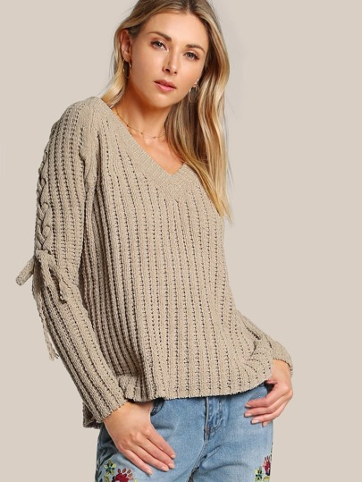 Lace Up Sleeve Knitted Sweater CAMEL