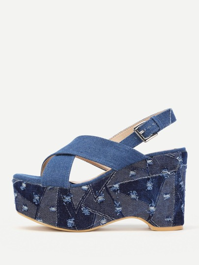 Cross Strap Distressed Denim Wedge Sandals