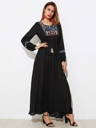 Tasseled Tie Embroidered Yoke Dress