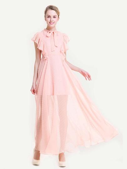 Frill Trim Tie Neck Dot Jacquard Chiffon Dress