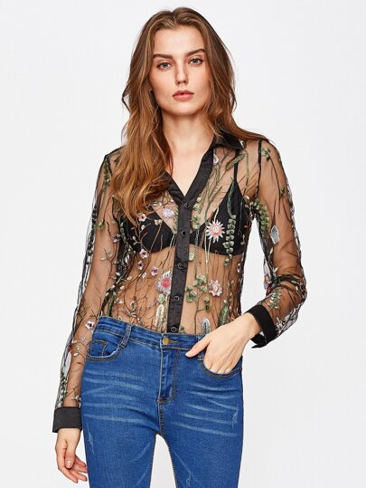 Botanical Embroidered Mesh Blouse