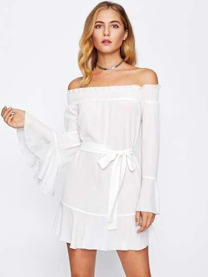Shirred Bardot Flute Sleeve Frill Trim Dress