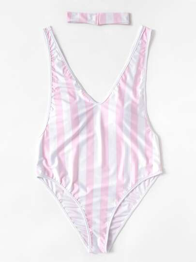 Block Striped Drop Arm Hole Swimsuit With Choker