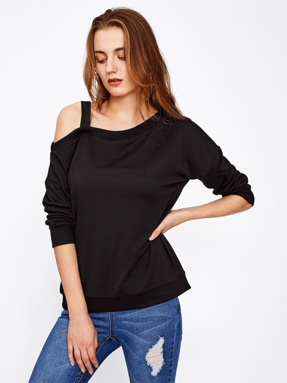 Asymmetric Cold Shoulder Sweatshirt