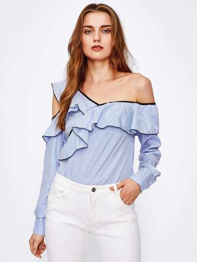 Contrast Binding Asymmetric Shoulder Pinstripe Blouse