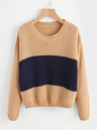 Ribbed Trim Two Tone Jumper
