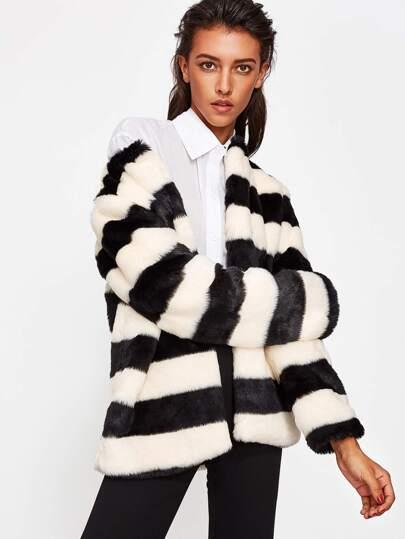 Striped Open Front Faux Fur Coat