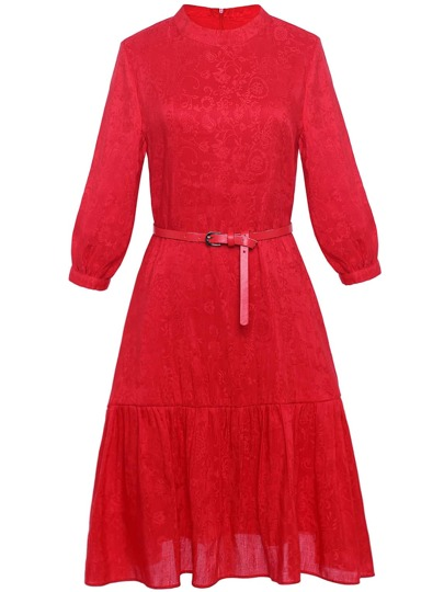 Flowers Jacquard Belted A-Line Dress
