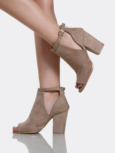 Peep Toe Ankle Strap Booties DARK TAUPE