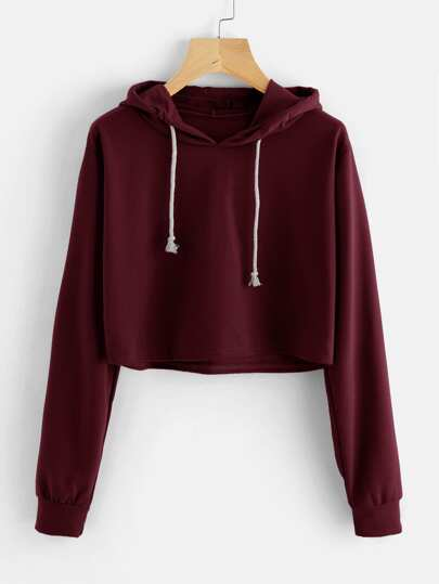 Drawstring Hooded Crop Sweatshirt