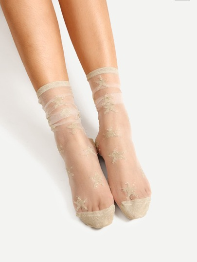 Star Pattern Mesh Ankle Socks
