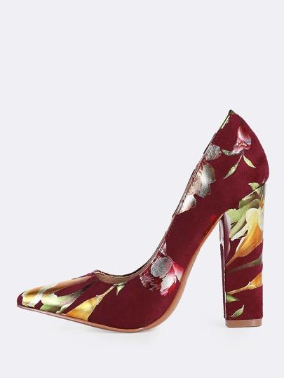 Metallic Floral Print Heels WINE