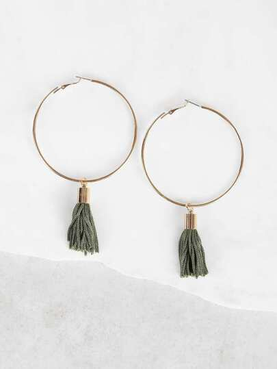 Hoop with Tassel Earrings GREEN