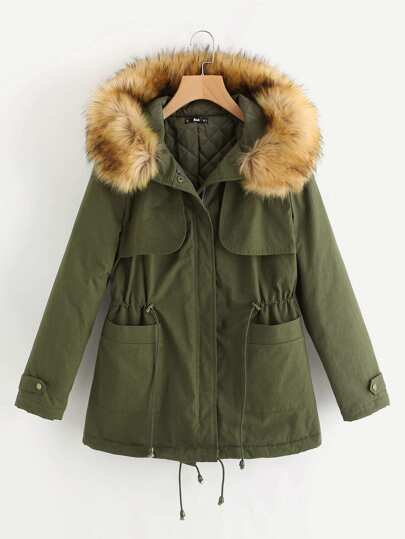 Gun Flap Faux Fur Trim Hooded Parka Coat