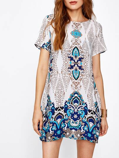 Ornate Print Short Sleeve Dress