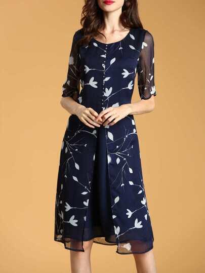 Leaves Print Beading Dress