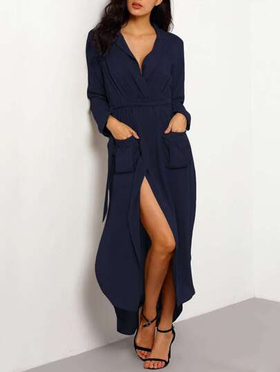 Pocket Front Curved Hem Wrap Trench Dress