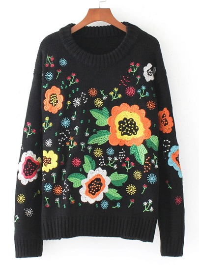 Calico Embroidery Ribbed Trim Pullover Sweater