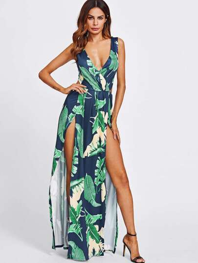 Surplice Neckline Open Back M-Slit Jungle Print Dress