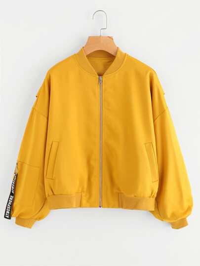 Zipped Pocket Shirred Sleeve Bomber Jacket