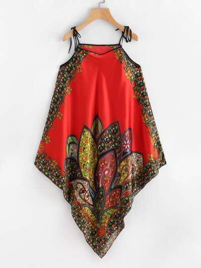 Vestido asimétrico de satén con estampado