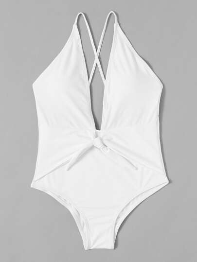 Knot Front Plunge Neckline Swimsuit