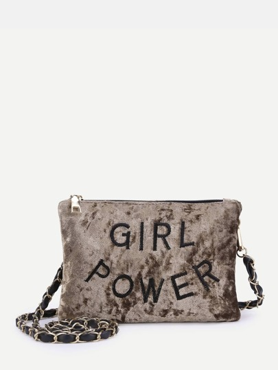 Letter Embroidered Velvet Crossbody Bag