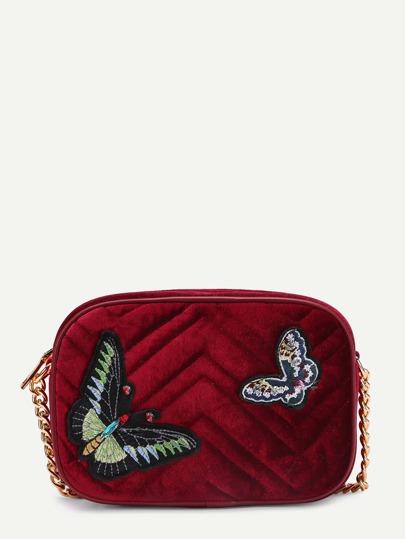 Sac bandoulière de chaîne en velours brodé des papillons